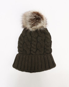 New Look Cable Faux Pom Bobble Beanie Dark Khaki