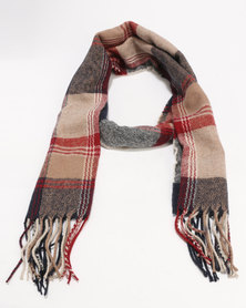 New Look Check Scarf Red/Camel