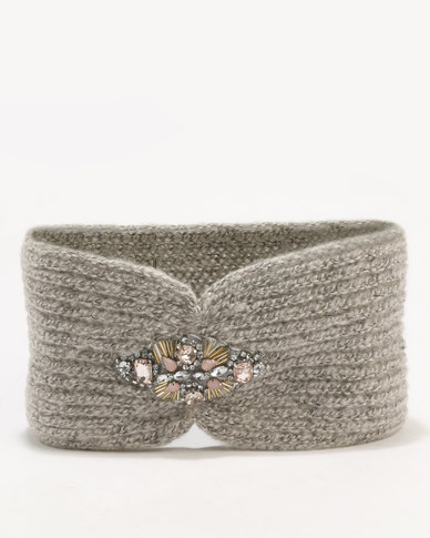 New Look Embellished Headband Grey