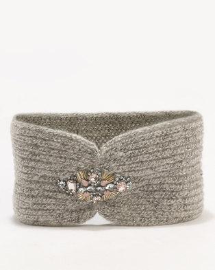 New Look Embellished Headband Grey