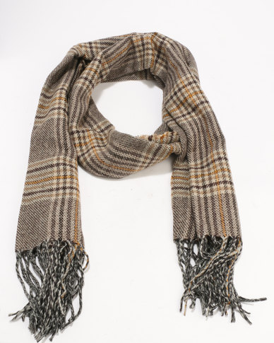 New Look Heritage Ochre Check  Scarf Mink Brown