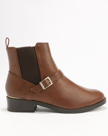 New Look Wide Fit Crispy PU Strap Buckle Boot Brown