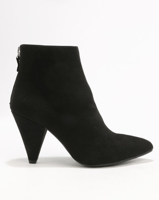 New Look Barb Suedette Ankle 80'S Point Black