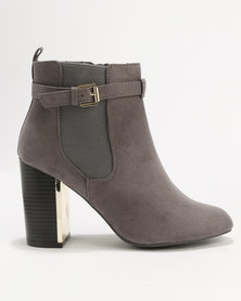 New Look C Bambam Suedette Metal Heel Grey