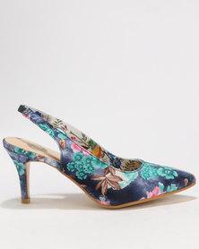 Footwork Onaka Floral Printed Slingback Heels Navy Floral