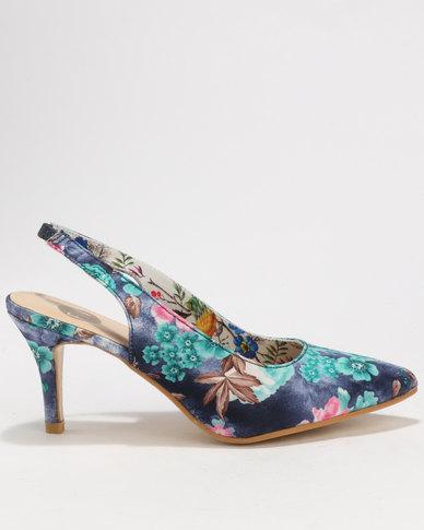 47991ec8ea2 Footwork Onaka Floral Printed Slingback Heels Navy Floral