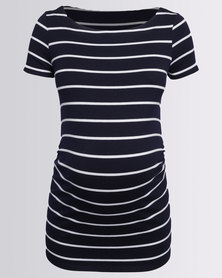 Cherry Melon Boatneck Top With Side Details Navy/White Stripe