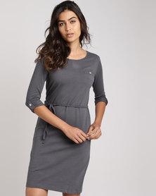 Utopia  3/4 Sleeve Basic T-Shirt Dress Charcoal