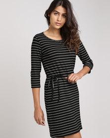 Utopia Stripe 3/4 Sleeve Basic T-Shirt Dress Black/White