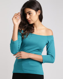 Utopia Off The Shoulder Knit Top Teal