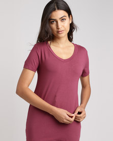Utopia Basic V-Neck Tee Berry