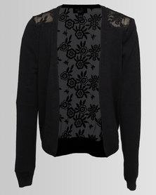 New Look Bubble Lace Back Cardi Black