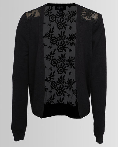 New Look Bubble Lace Back Cardi Black