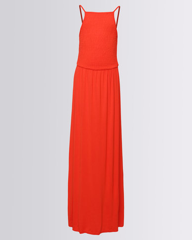 New Look Plain Jersey Shirred Maxi Dress Red
