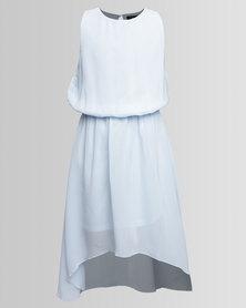 New Look PR Dip Hem Chiffon Dress Blue