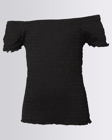 New Look Shirred Allover Bardot Top Black
