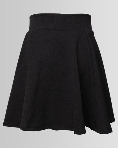 New Look Riverpool Skater Skirt Black