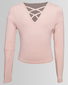 New Look Double Lattice Front CE Long Sleeve Top Nude
