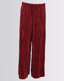 New Look Plisse Trouser Dark Burgundy