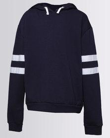 New Look Stripe Sleeve Hoodie GBX Navy
