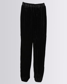 New Look Velvet Plisse Trousers Black