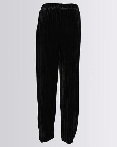 New Look Velvet Plisse Trousers Black
