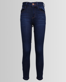 New Look Rinse Ripped Skinny Navy
