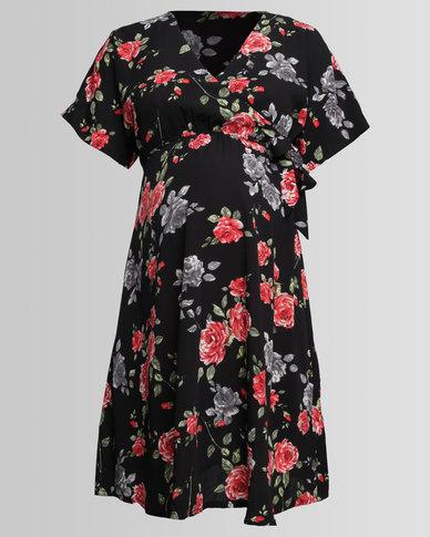 ffd0f620ebc New Look Maternity Wrap Dress Black Floral