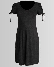 New Look Maternity Marl Ruched Tie Sleeve Dress Grey