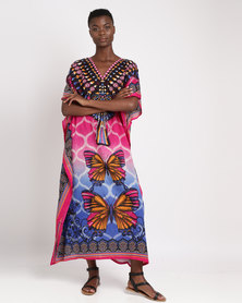 Joy Collectables Long Butterfly Kaftan Pink