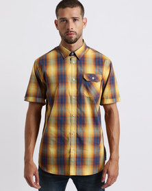 JCrew Check Short Sleeve Shirt Yellow