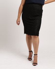 Queenspark Plus Collection Glamour Lace Knit Skirt Black