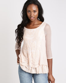 Queenspark Casual Lace Melody Long Sleeve Knit Top Peach