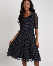 Queenspark Spot Mesh Fit & Flare Knit Dress Navy