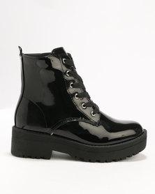 London Hub Fashion Ankle Boot Black