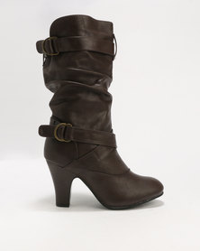 London Hub Fashion Long Boot Brown