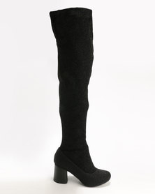 London Hub Fashion London Hub Fashion Heeled Over The Knee Boots Black free shipping from china cheap wholesale price classic for sale cheap collections cheap sale latest UsjzarT7cj