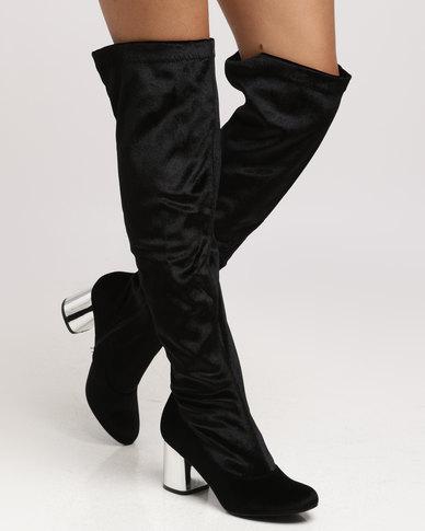 1cbf2a95150bc London Hub Fashion Long Boot Velvet Black | Zando
