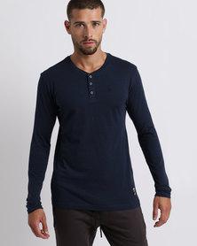 Kangol Henley Long Sleeve T-Shirt Navy