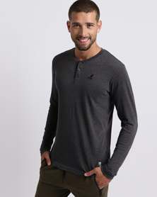 Kangol Henley Long Sleeve T-Shirt Charcoal
