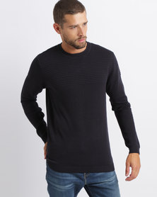 Dissident Nestone Engineered Rib Knitwear Navy