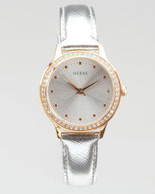Guess Rose Gold Watch With Silver Strap Silver/Rose Gold-Plated