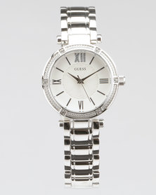 Guess Park Ave South Round Scrap Watch Silver-Plated