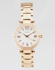 Guess Park Ave South Round Scrap Watch Rose Gold-Plated