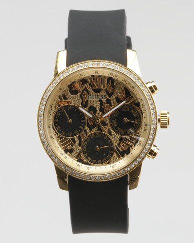 Guess Park Round Watch Black & Gold-Plated