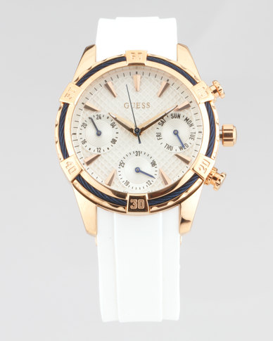 Guess Catalina Round Synthetic Strap Watch White