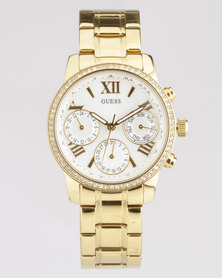 Guess Mini Sunrise Round Yello Watch Gold-Plated