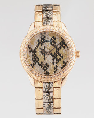 Guess Serpentine With Metal Strap Watch Rose Gold-Plated