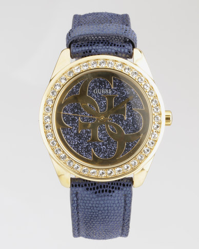 Guess G Twist Gold With Blue Strap Watch Gold-Plated