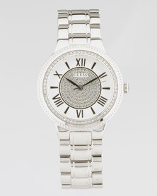 Guess Medison Round Metal Strap Watch Silver-Plated